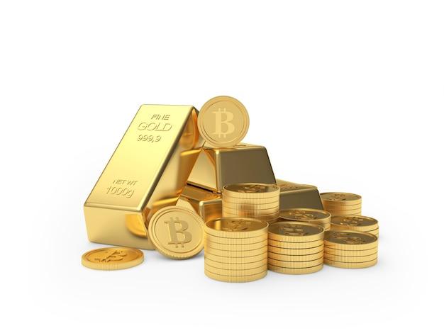 Tas de pièces de monnaie bitcoin et lingots d'or