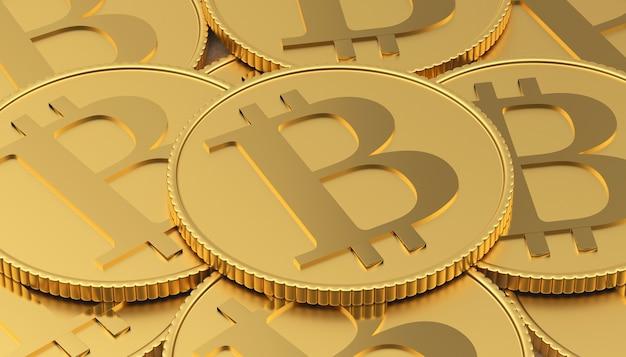 Tas de pièces d'or bitcoin.