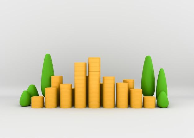Des tas de pièces d'or avec des plantes