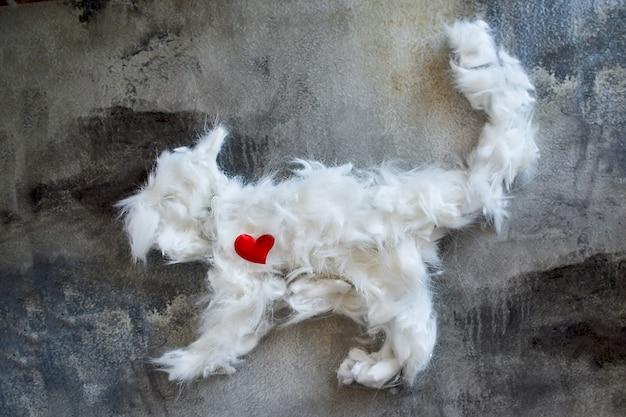 Un tas de poils de chat après le toilettage est disposé en forme de chat. élimination des poils d'animaux pendant la mue
