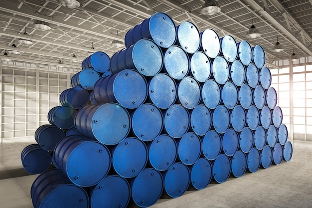Tas de rendu 3d de barils bleus dans l'entrepôt