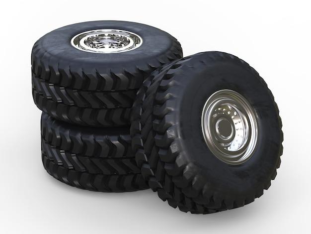 Tas de rendu 3d de pneus de camion sur fond blanc