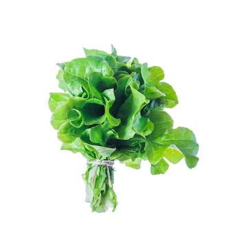 Tas de salade verte fraîche isolé sur une surface blanche