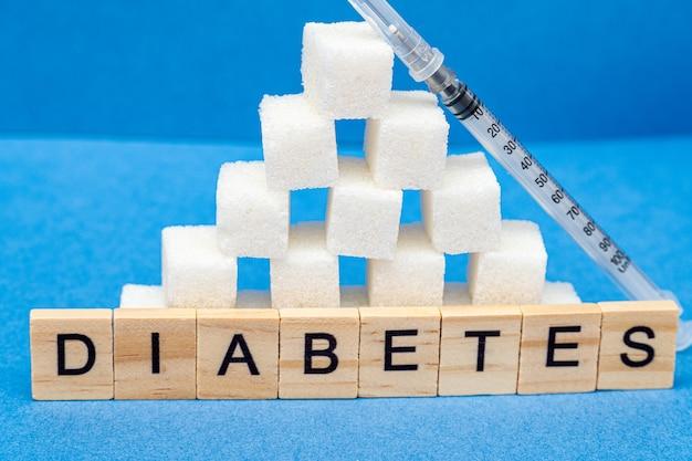 Tas de sucre, de seringue et de mot diabète sur fond bleu