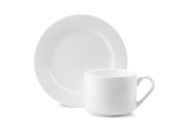 Tasse et assiette blanche