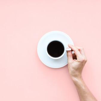 Tasse blanche café frais malsains nourriture haut