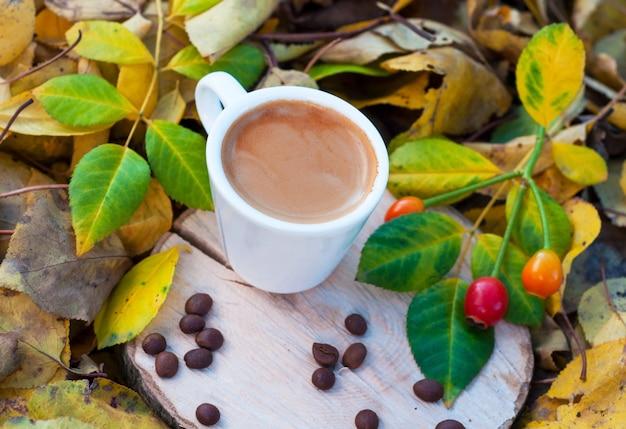Tasse blanche avec expresso sur le chanvre parmi les feuilles tombées de l'automne
