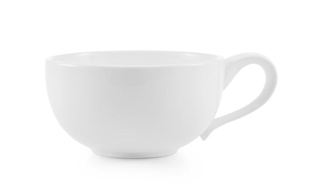 Tasse blanche sur fond blanc
