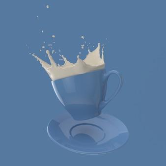 Tasse bleue simple avec éclaboussures de lait