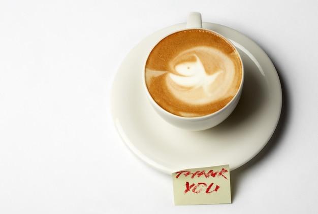 Tasse à café barista avec note de remerciement