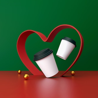 Tasse de café blanc sur fond vert et rouge