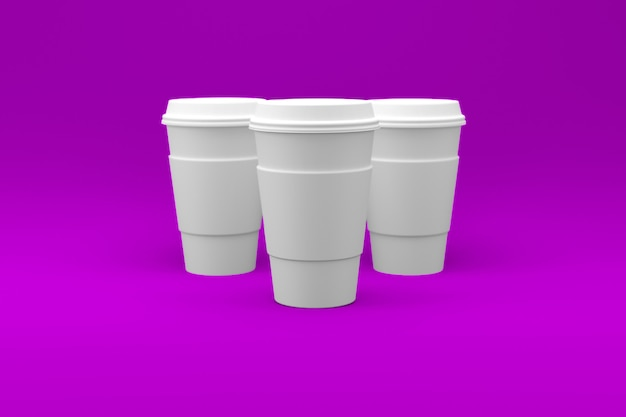 Tasse à café blanc uni isolé sur une surface colorée