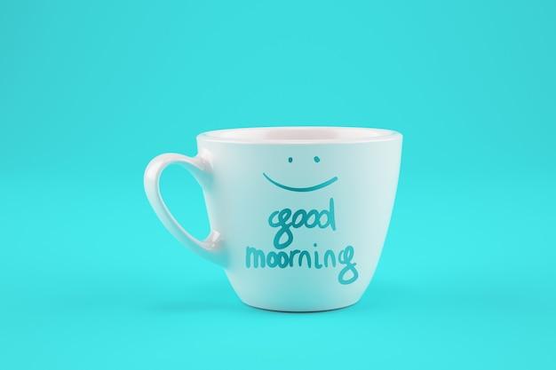 Tasse de café blanche sur fond cyan avec un souhait pour une bonne journée.