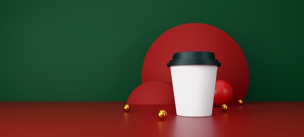 Tasse de café blanche sur fond vert et rouge. illustration 3d