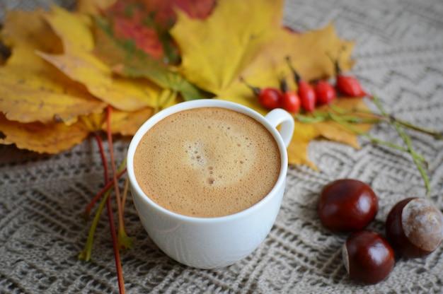 Tasse de café boisson érable feuilles jaunes châtaignes doré automne lumière du soleil joyeuse matin concept tonique