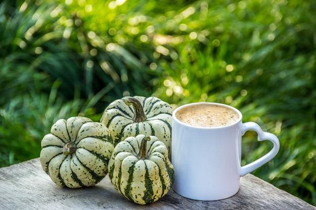 Une tasse de café et de citrouilles à rayures