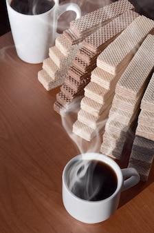 Tasse à café et gaufres