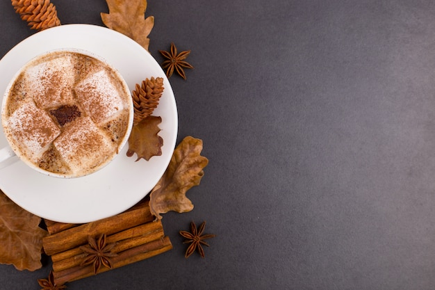 Tasse de café avec guimauves et cacao, feuilles, oranges séchées, cannelle et anis étoilé, fond de pierre grise. savoureuse boisson chaude de l'automne. fond