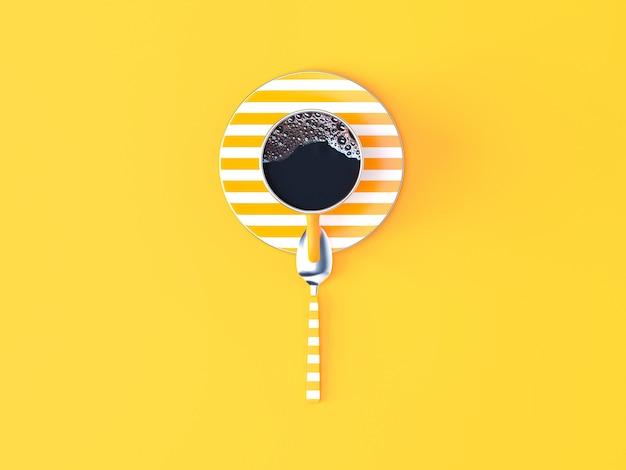 Tasse de café jaune sur fond pastel jaune
