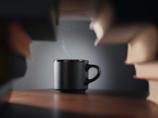 Tasse de café et livres