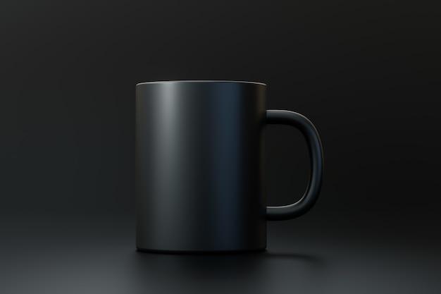 Tasse à café noire ou tasse vide pour boire sur fond sombre sombre