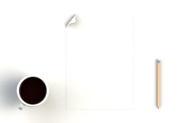 Tasse à café avec papier blanc sur fond blanc, vue de dessus avec fond pour votre texte, rendu 3d