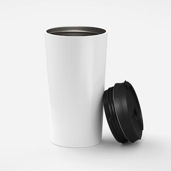 Tasse à café en papier avec couvercle noir isolé sur fond blanc avec rendu 3d, maquette pour votre projet