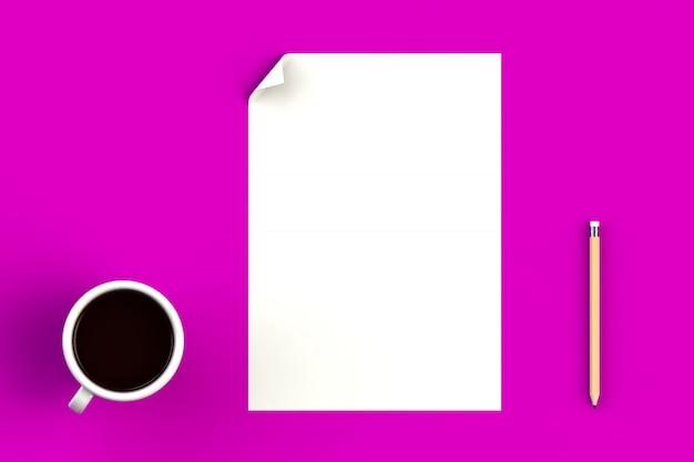 Tasse à café avec papier vierge sur rose