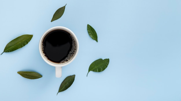 Tasse de café à plat et feuilles avec copie-espace