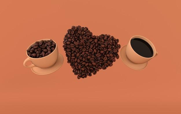 Tasse de café et rendu réaliste de coeur de grains de café