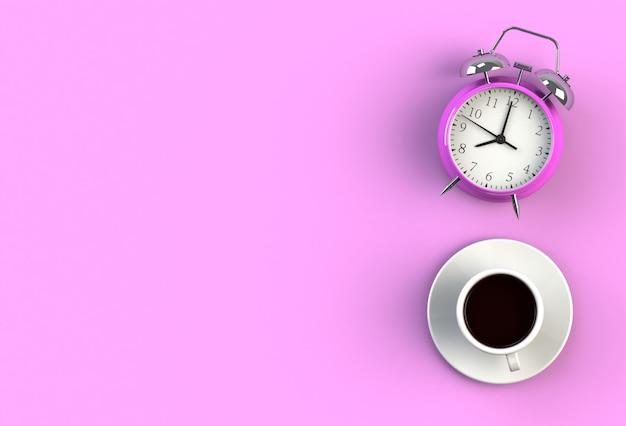 Tasse à café avec réveil sur fond rose, vue de dessus avec fond pour votre texte, rendu 3d