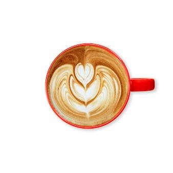 Tasse de café rouge sur fond blanc