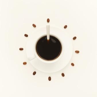 Tasse à café sur soucoupe et grains torréfiés disposés en cadran sur fond blanc isolé, vue de dessus. symbole de l'heure du café. concept d'énergie et de rafraîchissement, espace de copie