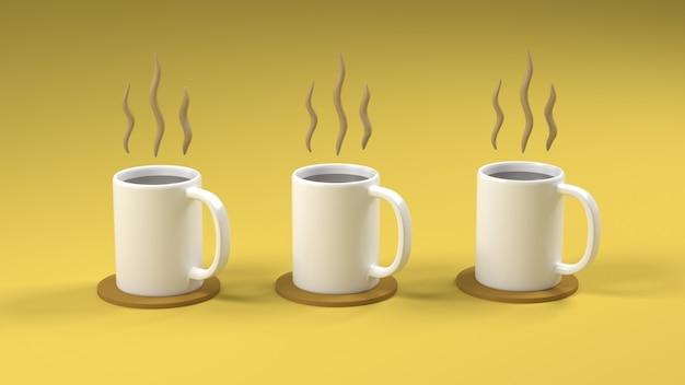 Tasse de café triple rendu 3d sur fond jaune