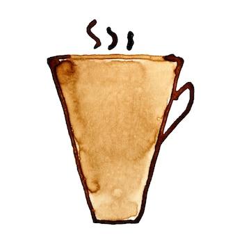 Tasse à café avec de la vapeur esquissée dans le café