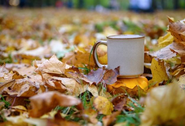 Tasse en céramique sur les feuilles d'automne