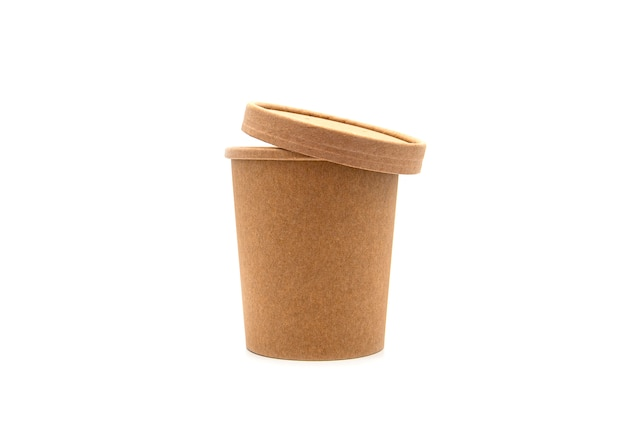 Tasse et couvercle en papier brun