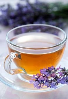 Tasse avec du thé à la lavande et des fleurs de lavande fraîches sur fond de carreaux roses