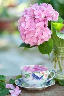 Tasse de fond d'été de thé et d'hortensia
