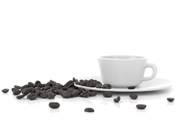 Tasse et grains de café, rendu 3d.