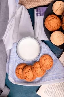 Tasse de lait avec des biscuits