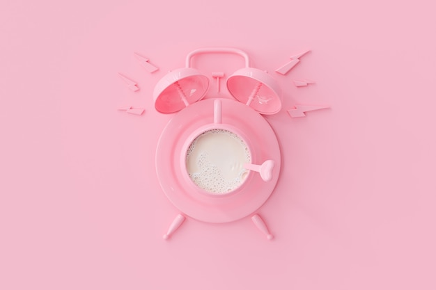 Tasse à lait rose avec horloge