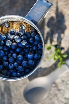 Une tasse en métal pleine de bleuets avec de la farine d'avoine, sur une pierre dans les bois