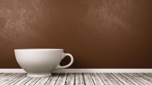 Tasse de petit-déjeuner en céramique blanche dans la chambre