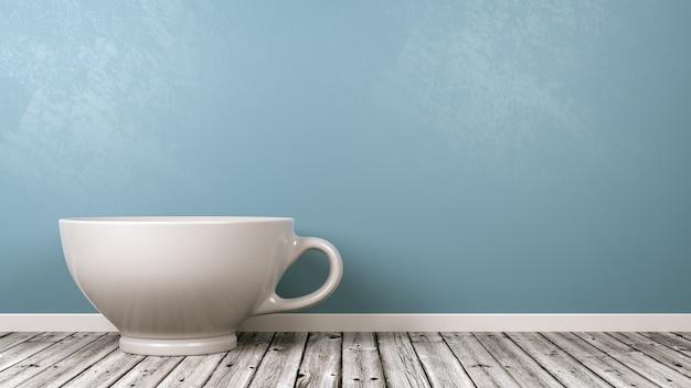 Tasse de petit-déjeuner en porcelaine blanche dans la chambre