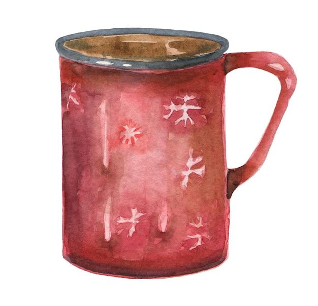 Tasse rouge dessiné main aquarelle avec café isolé sur fond blanc