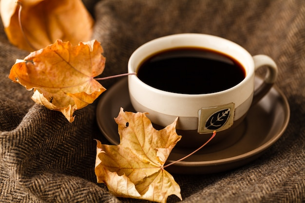 Tasse avec sachet de thé, livre et couverture d'hiver à carreaux sur table en bois vintage
