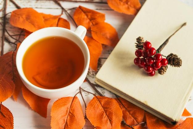 Tasse avec thé au citron et livre