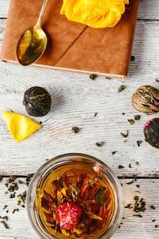 Tasse de thé et cahier