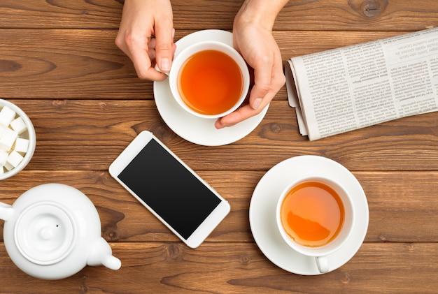 Tasse de thé du matin